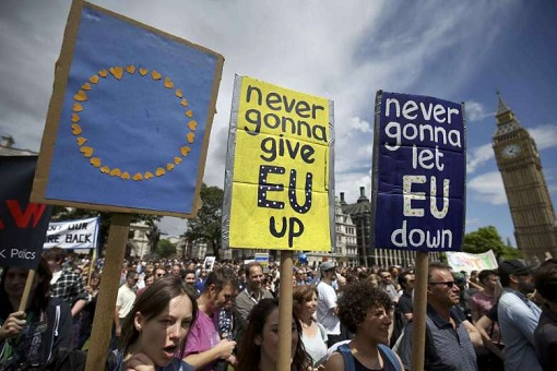 Brexit Protesters - Never Gonna Give EU Up