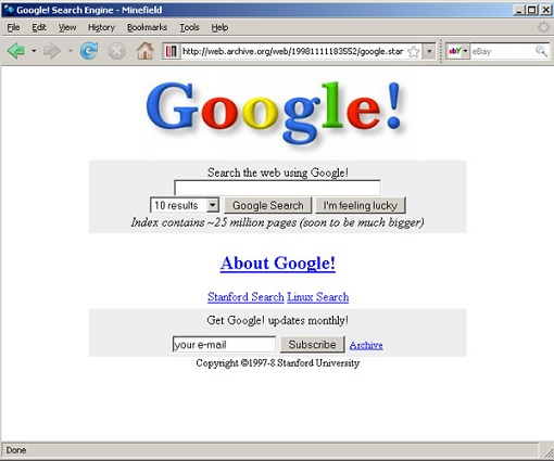 Google 1998 Website Design
