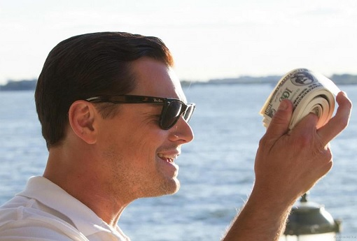 Leonardo DiCaprio - Wolf Of Wall Street - Holding Stacks of Money
