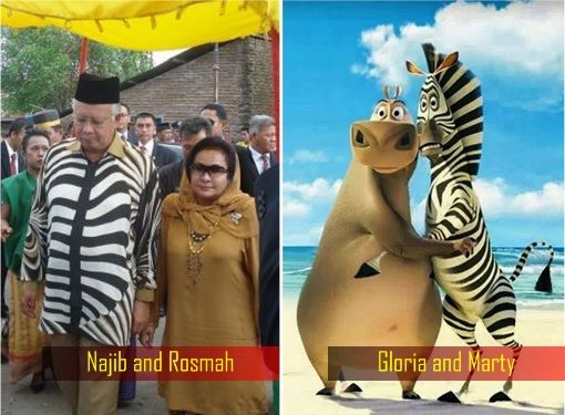 Najib Razak and Rosmah Mansor - Madagascar Hippo Gloria and Zebra Marty