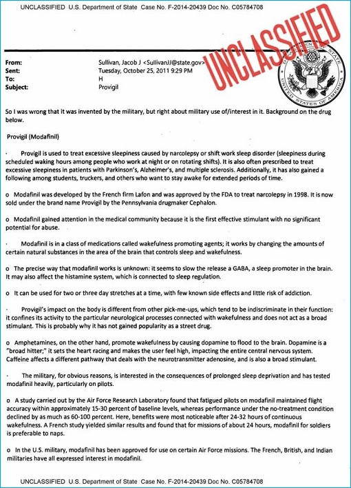 US Department of State - Unclassified Email - Hillary Clinton Health - Provigil Drug