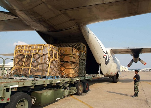 US Navy Plane - wooden pallets stacked with Cash