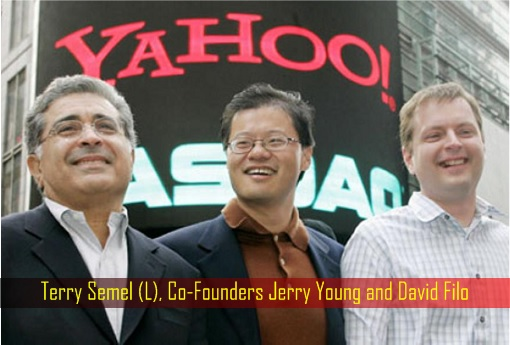 Yahoo CEO Terry Semel and Co-Founders Jerry Young and David Filo
