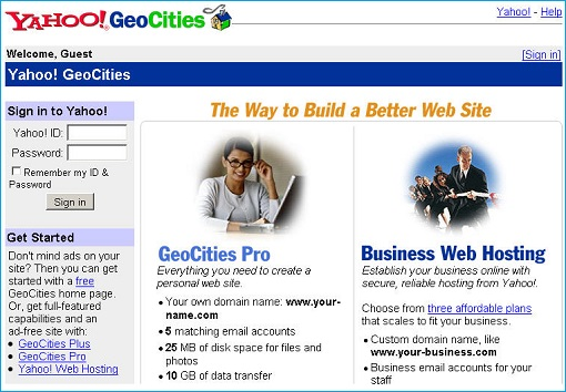 Yahoo Geocities Website Design 1999