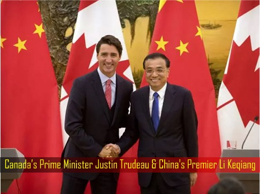 Canada's Prime Minister Justin Trudeau and China's Premier Li Keqiang