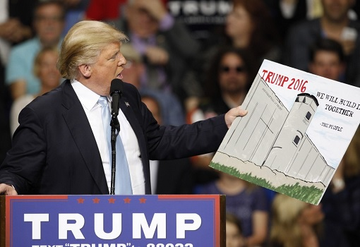 Donald Trump Showing A Sketch of Mexico Wall
