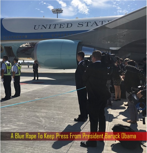 G20 Summit - A Blue Rope To Keep Press From President Barack Obama
