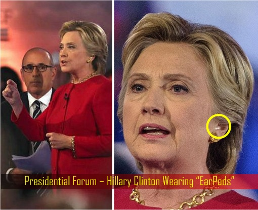 hillary-clinton-caught-wearing-earpods-earpiece-earphone-presidential-forum