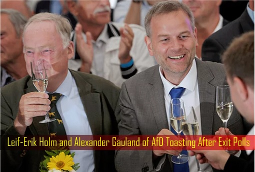 Leif-Erik Holm and Alexander Gauland of AfD Toasting After Exit Polls - Germany State Election