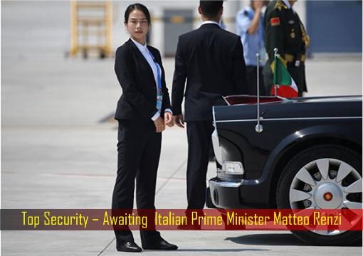 Top Security – Awaiting  Italian Prime Minister Matteo Renzi