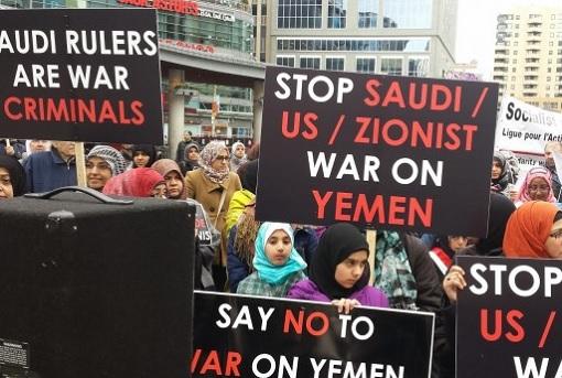 yemen-war-protesters-stop-saudi-us-zionist-banner