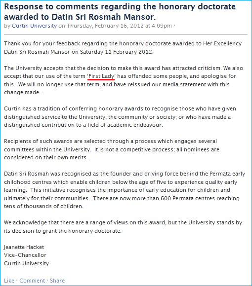 curtin-university-comment-on-honorary-doctorate-to-rosmah-mansor-apology-on-first-lady