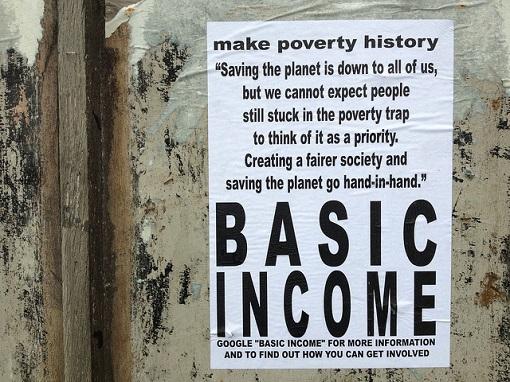 Basic Income Make Poverty History - Flyer on Wall