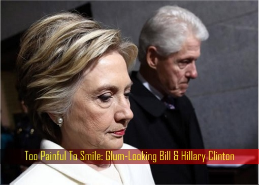 Too Painful To Smile - Glum-Looking Bill and Hillary Clinton