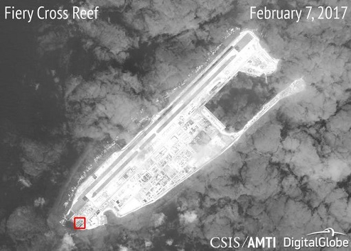 China Fiery Cross Reef - Satellite Image - Missile Installation Structure - Feb 2017