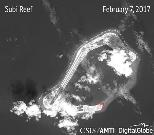 China Subi Reef - Satellite Image - Missile Installation Structure - Feb 2017