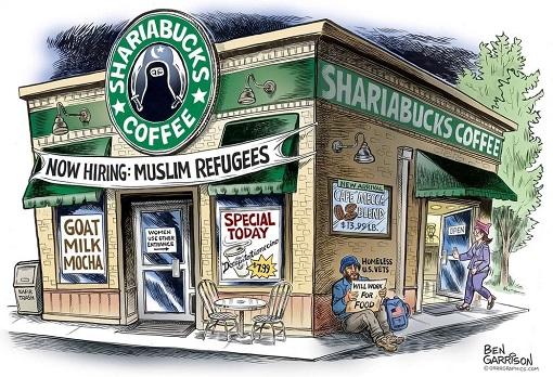 Starbucks Hiring 10000 Refugees - ShariaBucks Cartoon