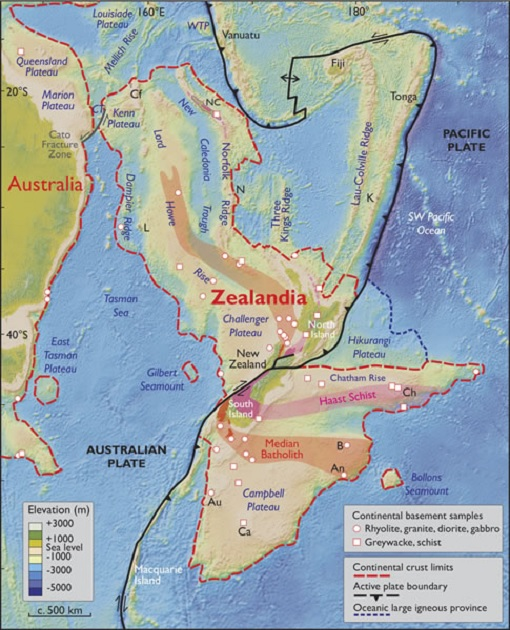 Zealandia Continent - Geographical Map Separating from Australia