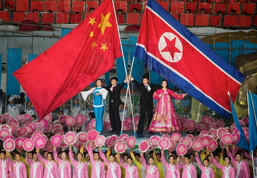 China-North Korea Relationship - Flags
