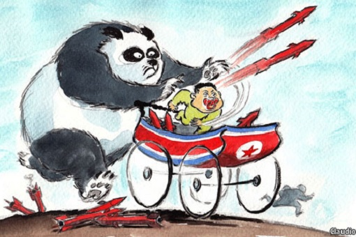 China-North Korea Relationship - Panda Pushing Kim Jong-un Firing Rockets