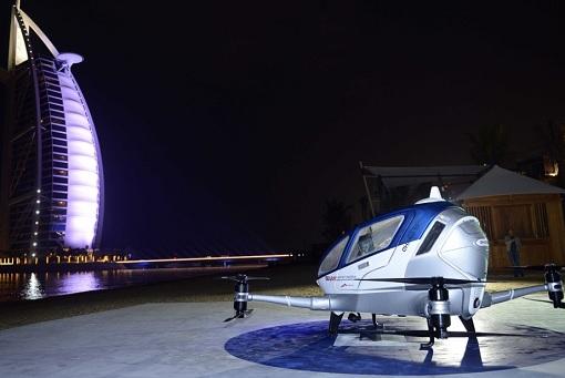 Flying Taxi - Ehang 184 Drone and Burj Al Arab Hotel