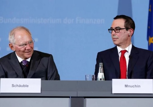G20 Meeting Germany 2017 - German Finance Minister Wolfgang Schaeuble and US Treasury Secretary Steven Mnuchin
