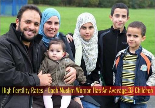 High Fertility Rates - Each Muslim Woman Has An Average 3.1 Children