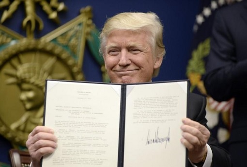 President Donald Trump Showing Signed Executive Power