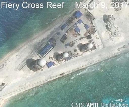 South China Sea - Fiery Cross Reef Satellite Photo March 2017 - SAM