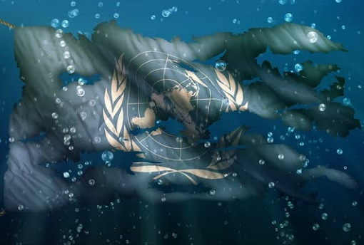 United Nations Flag - Torn Underwater