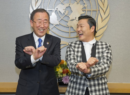 United Nations - Secretary-General Ban Ki-moon with Korean Pop Star PSY Gangnam Style