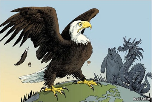 America Eagle versus China Dragon and Russia Bear