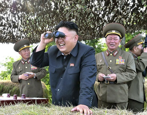 North Korea Kim Jong-un - With Binoculars Laughing