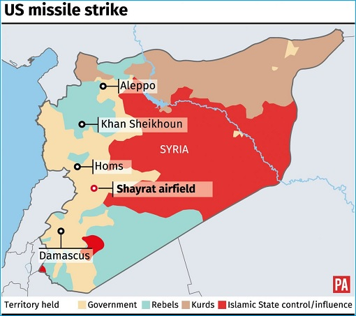 US Tomahawk Missile Strike In Syria - Map