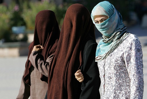 Uighur Muslim Women Wearing Face Veil in Xinjiang 2