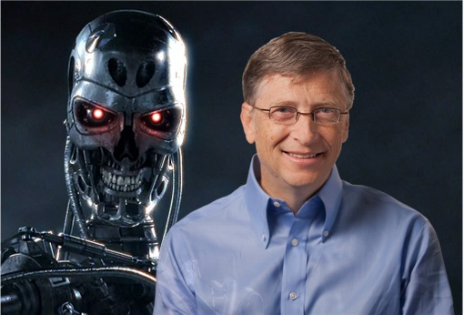 Bill Gates and Terminator Cyborg - Robot - Artificial Intelligence AI