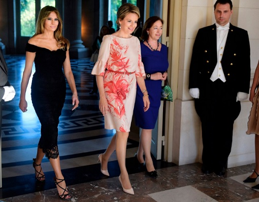 Fashion Diplomacy - Melania Trump First Foreign Trip - Belgium - Black Lace Dolce Gabbana Dress for Diplomatic Dinner with Queen Mathilde