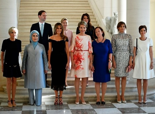 Fashion Diplomacy - Melania Trump First Foreign Trip - Belgium - Black Lace Dolce Gabbana Dress for Diplomatic Dinner