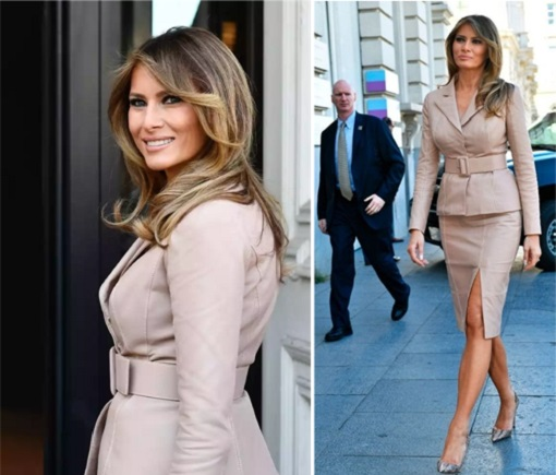 Fashion Diplomacy - Melania Trump First Foreign Trip - Belgium - Maison Ullens Beige Skirt Suit