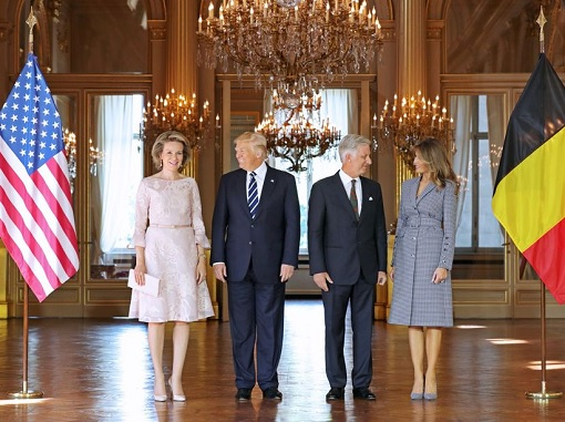 Fashion Diplomacy - Melania Trump First Foreign Trip - Belgium - Michael Kors Collection Blue and White Gingham Suit