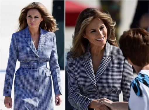 Fashion Diplomacy - Melania Trump First Foreign Trip - Belgium - Michael Kors Collection Blue and White Gingham Suit - Zoom View