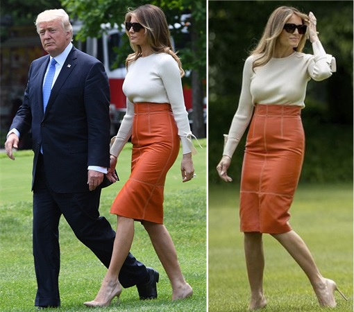 Fashion Diplomacy - Melania Trump First Foreign Trip - Hervé Pierre skin-tight orange leather skirt