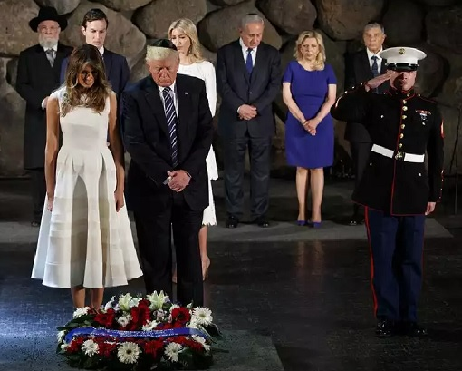 Fashion Diplomacy - Melania Trump First Foreign Trip - Israel - Holocaust Memorial - White and Creme-Striped Sleeveless Dress by designer Roksanda