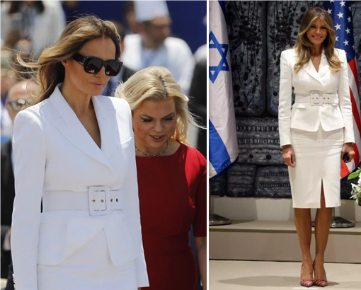 Fashion Diplomacy - Melania Trump First Foreign Trip - Israel - Michael Kors Belted White Jacket