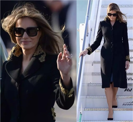 Fashion Diplomacy - Melania Trump First Foreign Trip - Italy - Dolce Gabbana - Black Coat Dress with Gold Appliqués