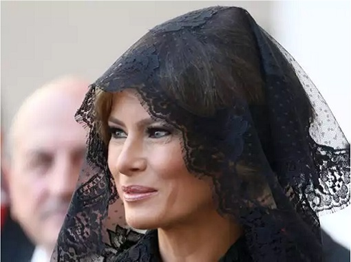 Fashion Diplomacy - Melania Trump First Foreign Trip - Italy - Dolce Gabbana - Black Lace Sheath Dress with a Matching Veil