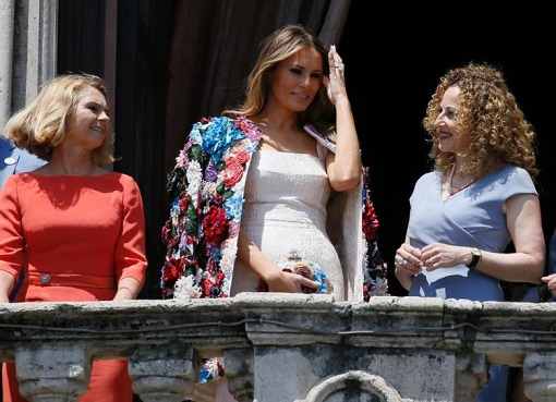 Fashion Diplomacy - Melania Trump First Foreign Trip - Italy - Dolce Gabbana - Colourful Floral Appliqué Jacket with G7 Leaders' Wife