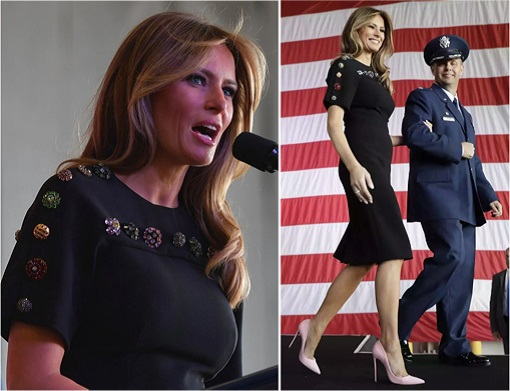 Fashion Diplomacy - Melania Trump First Foreign Trip - Italy - Dolce Gabbana - dress with button-embellishments