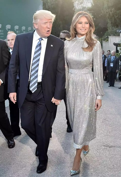 Fashion Diplomacy - Melania Trump First Foreign Trip - Italy - Dolce Gabbana - glittering high-neck silver dress and silver shoes
