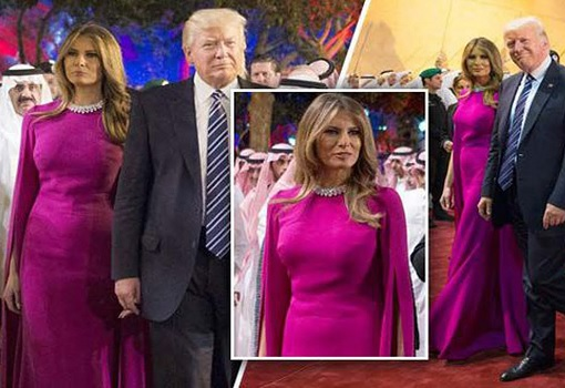 Fashion Diplomacy - Melania Trump First Foreign Trip - Saudi - Magenta Reem Acra Gown